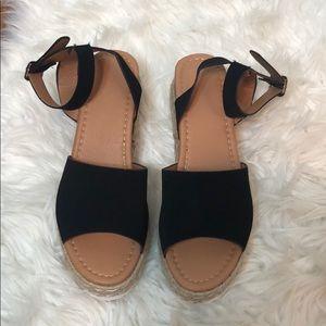 Black Buckle Espadrille Platform Sandals